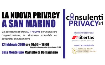 """SAVE THE DATE: 12 febbraio 2019, convegno """"La nuova privacy a San Marino"""""""
