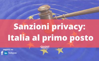 Sanzioni privacy: l'Italia è al primo posto