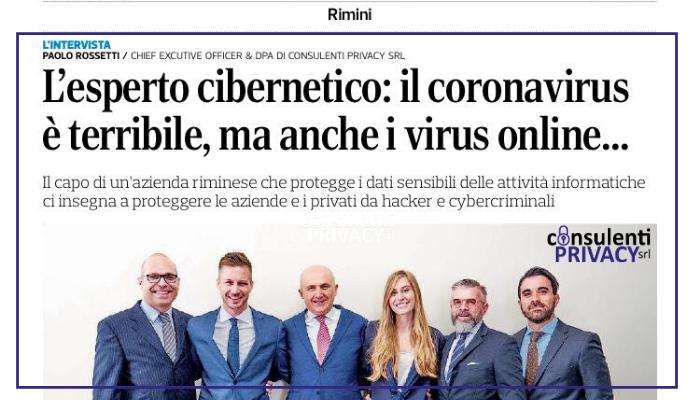 """COVID-19, SMART-WORKING E CYBERCRIME: il """"Corriere Romagna"""" intervista il nostro DPO"""