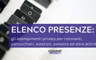 ELENCO PRESENZE: gli adempimenti privacy per ristoranti, parrucchieri, estetisti, palestre ed altre attività