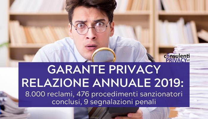 Relazione Garante Privacy: 8.000 reclami e segnalazioni nel 2019