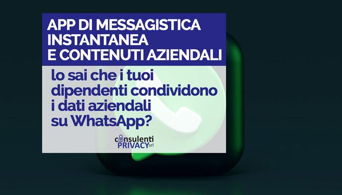 Privacy dati aziendali su whats app